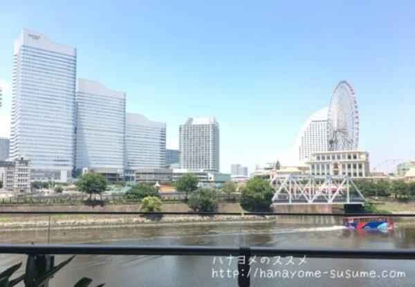 ノートルダム横浜みなとみらいのゲスト専用ラウンジから見えるみなとみらいの景色