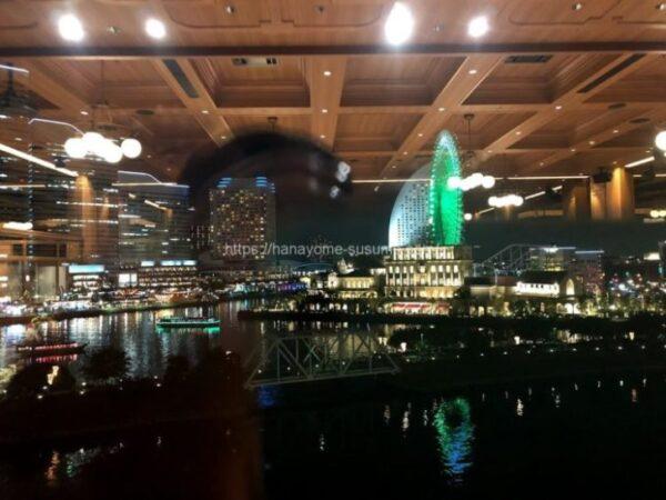 ノートルダム横浜みなとみらいの披露宴会場から見える夜景