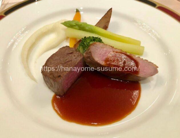 横浜ロイヤルパークホテルのお肉料理「黒毛和牛と鴨肉のマディラソース」