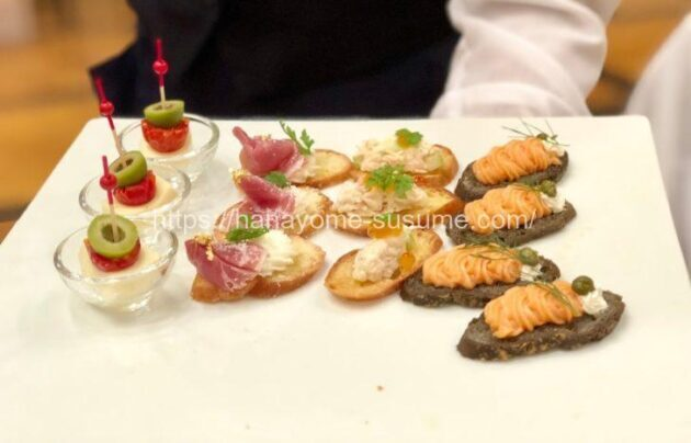 ヨコハマグランドインターコンチネンタルホテルの式場見学時に提供されるフィンガーフード