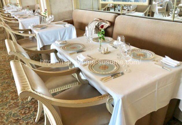 横浜ロイヤルパークホテルのフレンチレストラン「ル・シエール」のソファー席